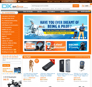 Screenshot van de website van DealExtreme / DX.com
