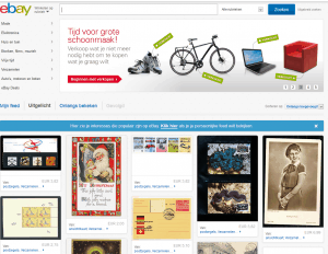 Screenshot van de website van eBay