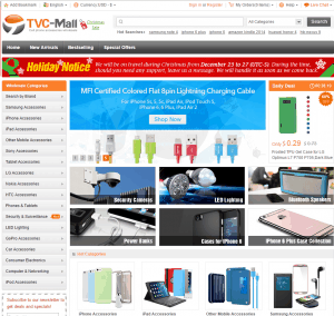 screenshot van de website van tvc-mall