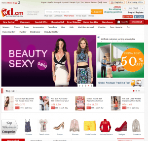 screenshot van de website van clothing-dropship