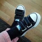 sneaker aan bij proefpersoon
